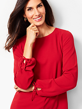 Refined Crepe Tie-Sleeve Top - Solid