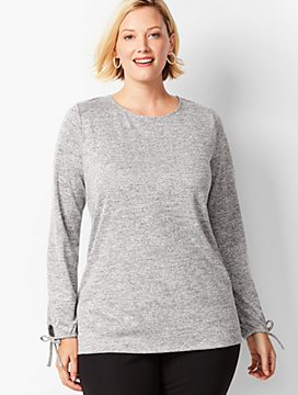 Refined Crepe Tie-Sleeve Top - Marled Shimmer