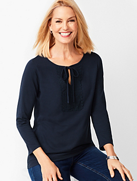 Tie-Detail Lace-Trim Top