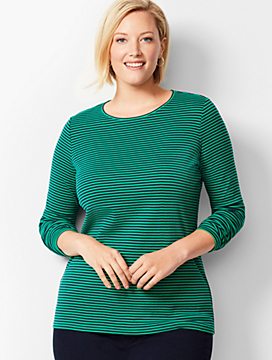 Plus Size Long-Sleeve Crewneck Tee - Juniper Stripe