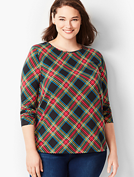 Plus Size Cotton Crewneck Tee - Festive Plaid