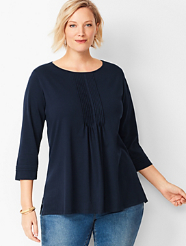 Plus Size Exclusive Jewel-Neck Pintuck Tunic