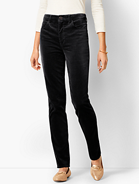 High-Rise Straight-Leg Velveteen Pants - Solid