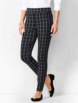 Bi-Stretch Pull-On Ankle Pants - Windowpane Plaid