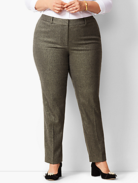 High-Waist Straight-Leg Lined Wool Pant - Sparkle