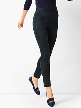 Ankle-Snap Ponte Leggings - Black Watch Plaid