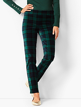 Talbots Chatham Velveteen Ankle Pants  - Black Watch Plaid