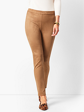 Faux-Suede High-Waist Leggings