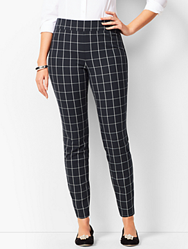 Bi-Stretch Pull-On Ankle Pants - Windowpane Plaid/Curvy Fit
