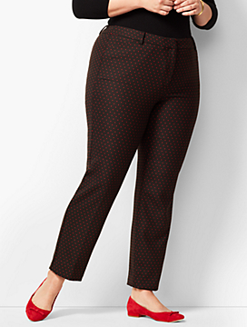 Plus Size High-Waist Tailored Ankle Pants - Dot