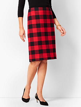 Buffalo-Check Pencil Skirt