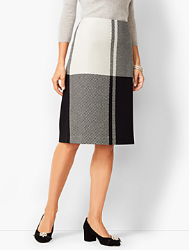 Colorblock Twill Pencil Skirt
