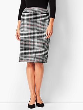 Ponte Glen Plaid Pencil Skirt