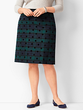 Black Watch Plaid A-Line Skirt
