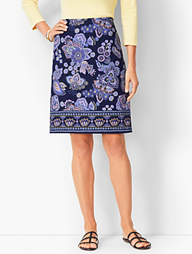 Paisley A-Line Cotton Canvas Skirt
