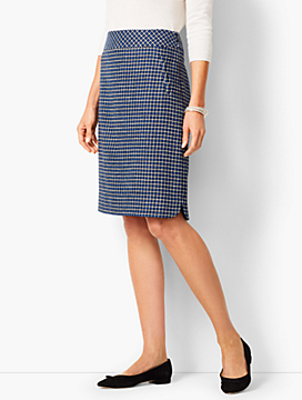 Houndstooth Jacquard Skirt - Blue Dazzle