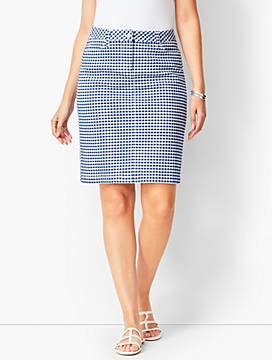 Gingham A-Line Cotton Skirt