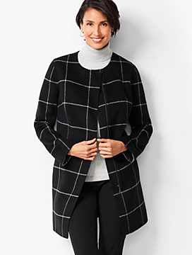 Window-Pane Plaid Double-Face Topper