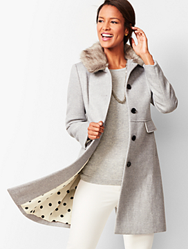 Faux-Fur-Trim Wool Coat