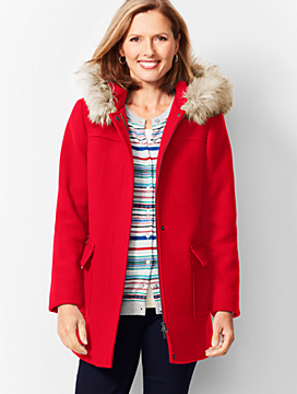Fur-Trim Hooded Jacket
