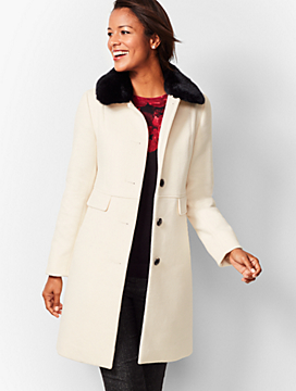 Faux-Fur-Trim Wool Coat - Ivory