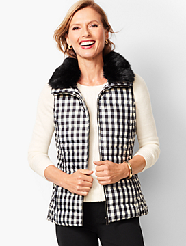 Down Faux-Fur Collar Puffer Vest - Buffalo Plaid