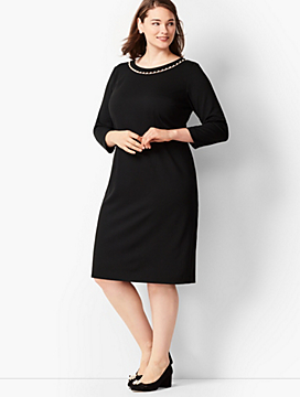 Pearl-Trim Ponte Dress