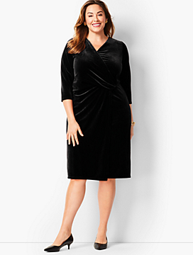 Velvet Faux-Wrap Sheath Dress