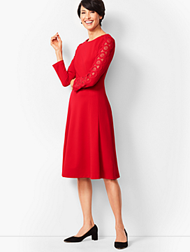 Lace Sleeve Ponte Fit Flare Dress
