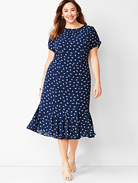 Leaf-Print Georgette Shift Dress
