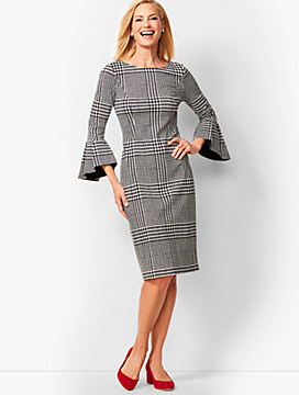 Refined Ponte Sheath Dress - Glen Plaid