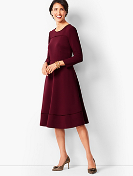 Tailored Crepe Fit & Flare Dress
