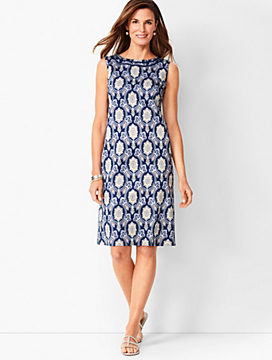 Cotton Sateen Shift Dress - Medallion