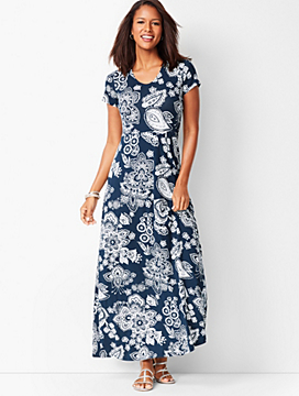 Paisley Knit Maxi Dress