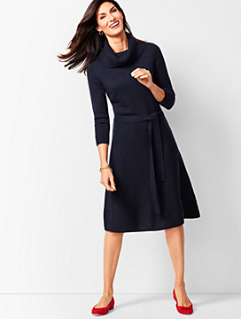 Cowlneck Fit & Flare Sweater Dress - Donegal