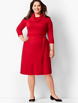 Cowlneck Fit & Flare Sweater Dress