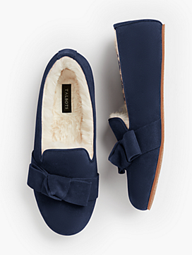 Fireside Shearling-Lined Slippers - Bow Detail