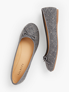 Penelope Quilted Ballet Flats - Studded Charcoal Grey Flannel