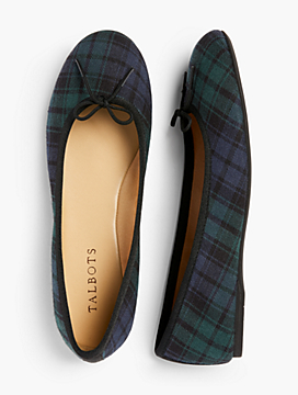 Penelope Ballet Flats - Black Watch Plaid