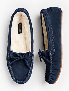 Ruby Shearling-Lined Moccasin Slippers