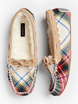 Ruby Moccasin Slippers - Tartan Plaid