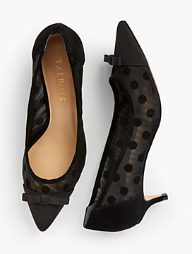 Sylvie Kitten Heel Pumps - Mesh Dot