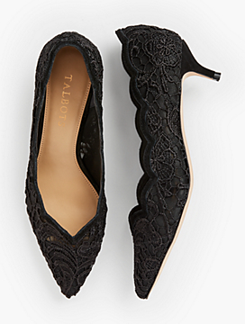 Sylvie Kitten Heel Pumps - Scallop-Edge Lace