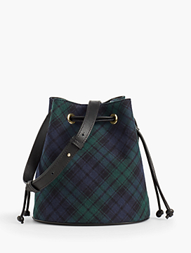 Drawstring Bucket Bag - Black Watch Plaid
