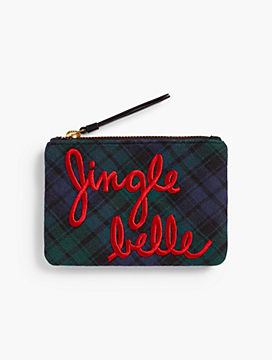 """Jingle Belle"" Black Watch Plaid Pouch"