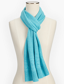 Cashmere Cable Border Scarf