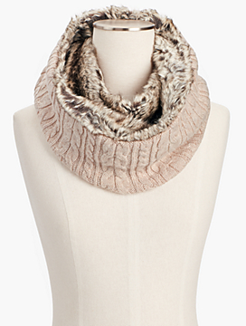 Faux-Fur and Cable Infinity Scarf