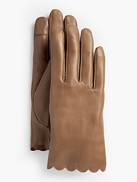 Scalloped Leather Touch Gloves