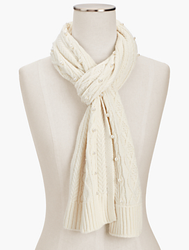 Embellished Cable-Knit Scarf