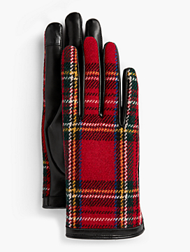 Leather Touch Gloves - Tartan Plaid